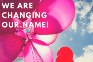Balloons in the sky with text reading - We are changing our name